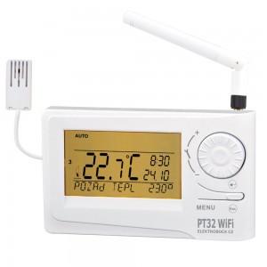 PT-32 WIFI je termostat s předvídavým systémem s možností vzdáleného nastavení